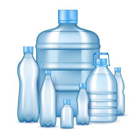 Realistic plastic drinking water bottles, vector illustration