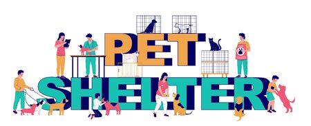 Pet shelter typography banner template, vector flat illustration
