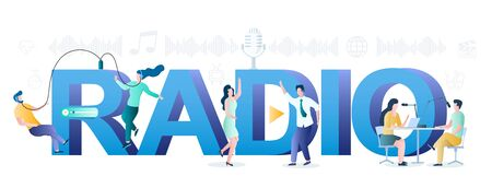 Radio fm online typography banner template, vector flat illustration. People creating podcast in studio, listening to audio programs and dancing. Internet radio, podcasting. 向量圖像