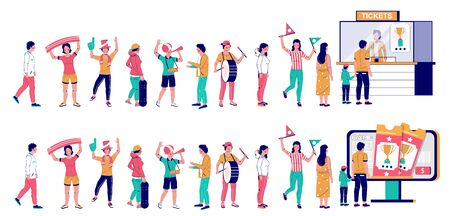 People standing in line at cashbox with cashier and at self service ticket kiosk, vector flat illustration. Football fans queue. Male and female characters waiting in line for sport event tickets. 向量圖像