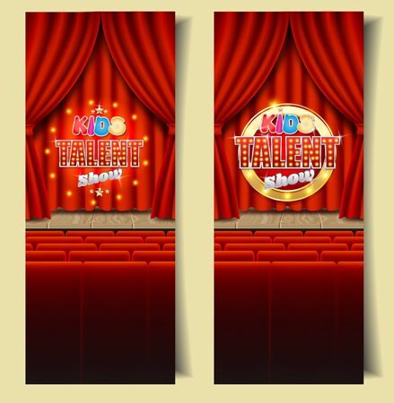 Kids talent show vertical banner vector template set. Empty theatrical stage with Kids talent show sign on red velvet curtain, seats for audience. Children tv talent contest, competition.