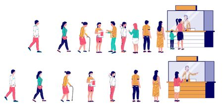 People waiting in line at ticket box or registration counter, vector flat illustration. Characters standing right behind people in one line and keeping social distancing, wearing face masks in other.
