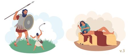David and Goliath, Samson and Delilah Bible Stories characters, vector flat illustration. Battle between David and Goliath. Samson betrayed by lover Delilah cutting his hair while he was sleeping. 向量圖像