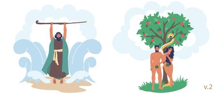 Staff of Moses, Adam and Eve Bible Stories characters, vector flat illustration. Moses using rod to part Red sea, Adam and Eve eating apple forbidden fruit from tree of knowledge.