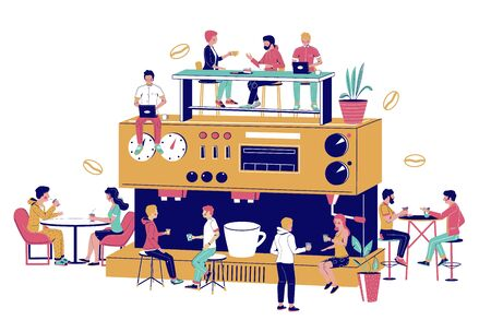 Huge coffee machine, tiny male and female chracters drinking coffee, vector flat illustration. Happy people meeting, talking to each other, working on laptop computer in coffee house, coffeeshop.