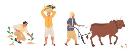 Indian farmer male character set, vector flat isolated illustration. People ploughing field with ox before sowing, planting and harvesting fruit. Indian farming industry.