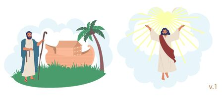 Noah Ark and the flood, Jesus Christ ascension Bible Stories characters, vector flat illustration. Noah standing next to his ark and Jesus Christ raising his hands up to heaven. Illustration