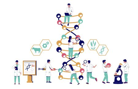 Dna research, vector flat illustration. Scientists studying genes in biotechnology science lab. Dna study, testing. Genetic engineering, genetic modification technology.