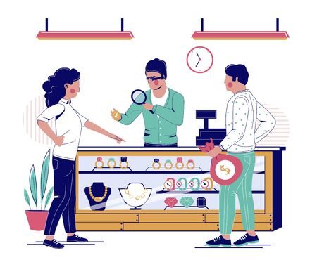 Jewelry store, vector flat illustration. Jewelry shop interior with jeweler looking at jewelry under magnifying glass and happy couple buying precious diamond ring.