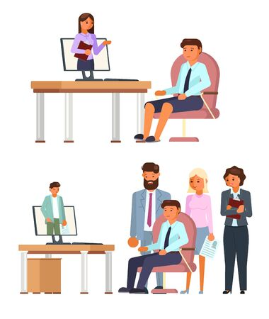 Online job interview character set, vector flat isolated illustration. Hr managers interviewing job candidates. Human resources, hiring, employment, video interviewing, modern communication technology 向量圖像