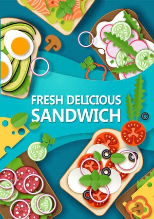 Fresh delicious sandwich poster banner template, vector paper cut style top view illustration