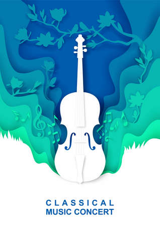 Vector paper cut craft style music composition for violin classical music concert poster banner flyer