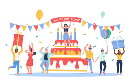 Group of business people celebrating happy birthday, vector flat illustration