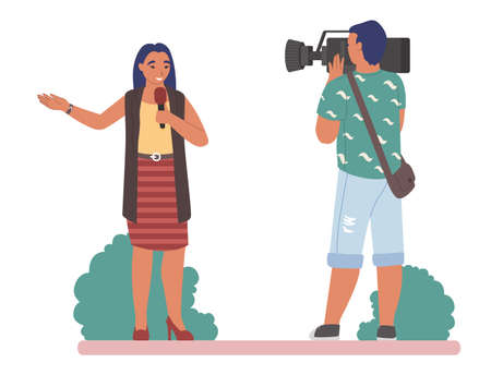 TV journalist or news reporter speaking with microphone before cameraman in the street, flat vector illustration 向量圖像