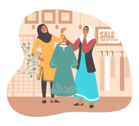 Happy muslim girl shopping in women clothing store, flat vector illustration