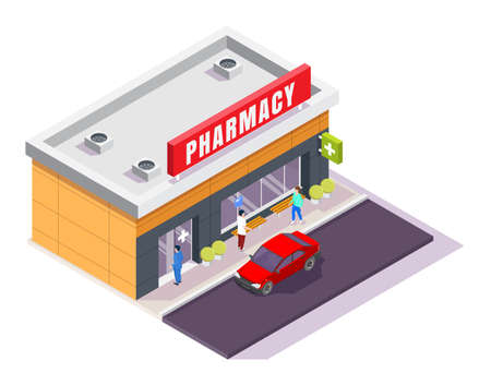 Pharmacy store facade with signboard, isometric vector illustration