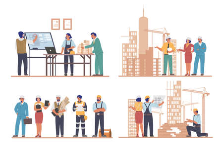 Architects and engineers working on architecture project of modern city buildings, flat vector illustration set 向量圖像