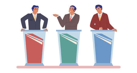 Live tv debate, political dialog between candidates, politicians, vector flat isolated illustration