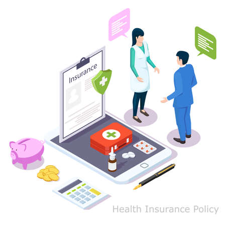Health insurance policy online, isometric vector illustration