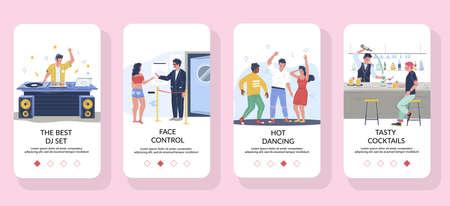 Night club dj dance party mobile app onboarding screens, vector website banner template