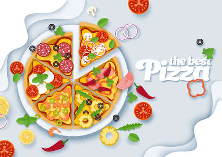 Delicious italian pizza, vector layered paper cut style top view illustration 向量圖像