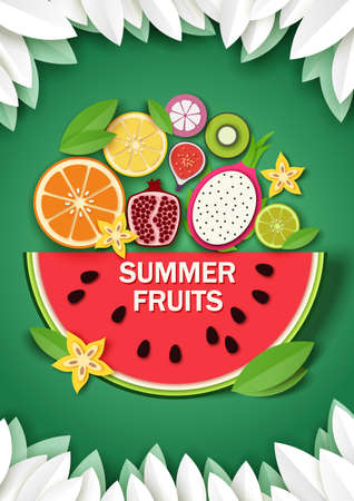Vector paper cut craft style summer background with sweet watermelon slice and tropical fruits