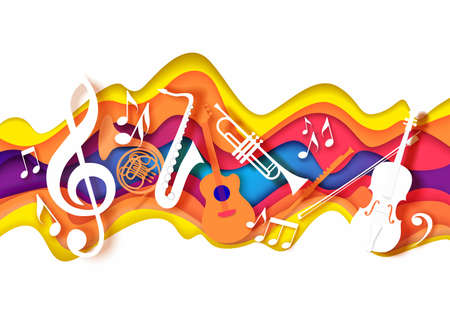 Vector paper cut craft style music composition for jazz concert festival party poster banner card