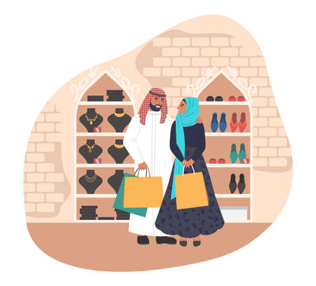Happy muslim couple shopping in women store, flat vector illustration 向量圖像