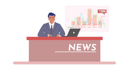 Tv breaking news with anchorman in studio, flat vector illustration