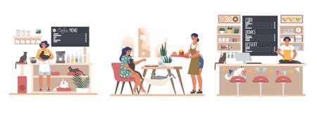 People pet lovers visiting cat cafe, flat vector illustration set 向量圖像