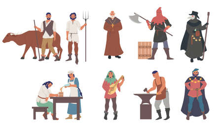 Medieval people male and female cartoon character set, flat vector isolated illustration 向量圖像