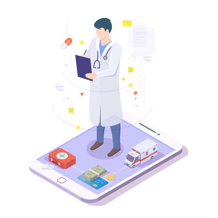 Online doctor physician with stethoscope on mobile phone screen, isometric vector illustration 向量圖像