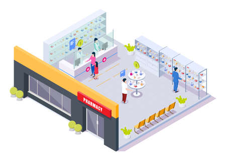 Pharmacy store interior with pharmacists and patients, isometric vector illustration