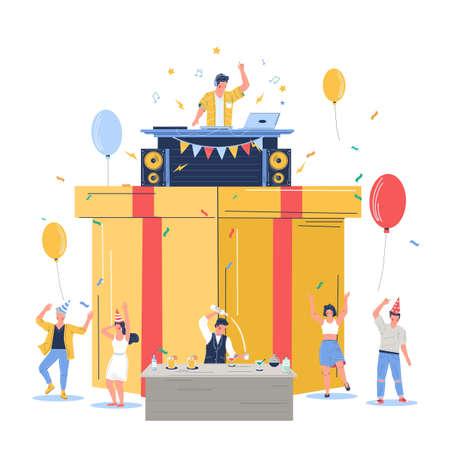 Group of people celebrating happy birthday, vector flat illustration