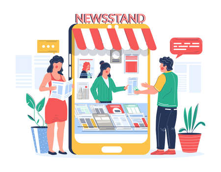 Digital newsstand. People buying and reading newspaper magazine online, vector flat illustration 向量圖像