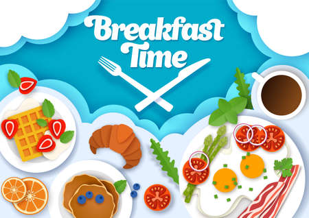 Breakfast time poster banner template, vector paper cut style top view illustration 向量圖像