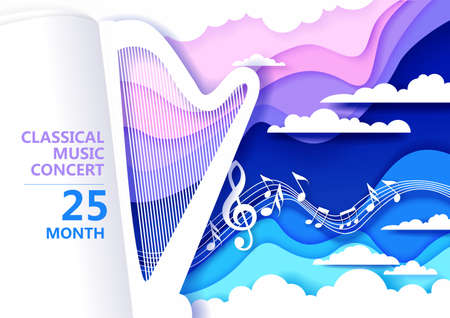 Vector paper cut craft style music composition for harp classical music concert poster banner flyer