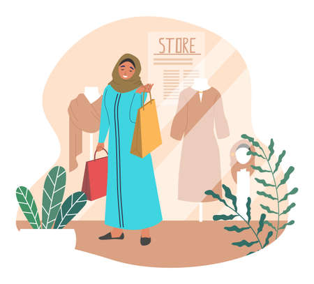 Beautiful muslim woman shopping in retail clothing store, fashion boutique, flat vector illustration 向量圖像