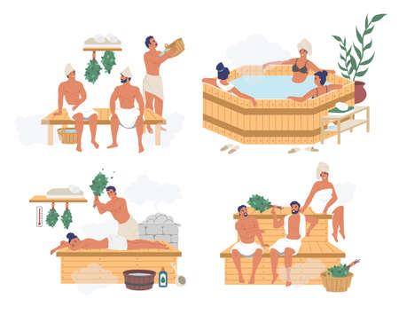 People enjoying russian steam bath, finnish sauna, japanese hot spring bath, flat vector isolated illustration