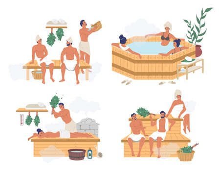 People enjoying russian steam bath, finnish sauna, japanese hot spring bath, flat vector isolated illustration Stock Illustratie