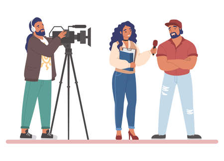 TV journalist or news reporter street interview, flat vector illustration 向量圖像