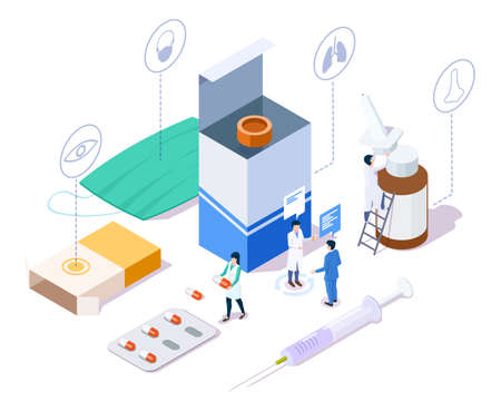 Pharmacy store concept with characters, drugs, medical supplies, isometric vector illustration
