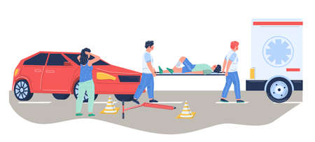 Paramedic emergency medical team rescuing injured patient hit by car, vector flat illustration