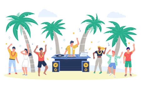 Beach party with dj playing disco music, people dancing, flat vector illustration 向量圖像