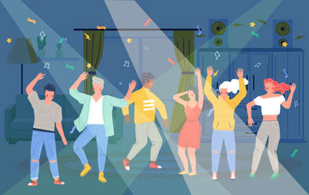 Home party. Happy people dancing, taking rest and having fun, vector flat illustration
