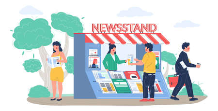 Street newsstand with saleswoman, people buying reading newspapers and magazines, vector flat illustration 向量圖像