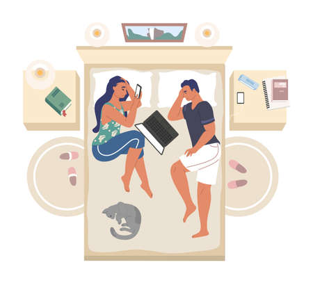 Couple lying on the bed with mobile phone and laptop, flat vector illustration