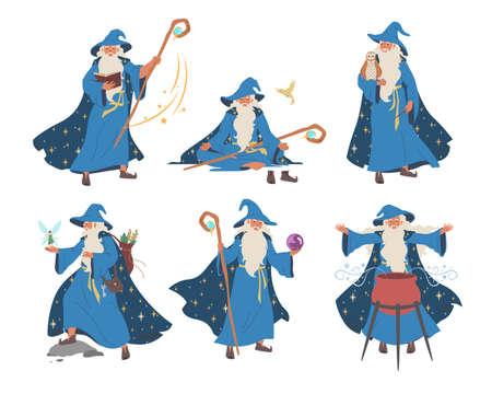 Old wizard, magician cartoon character set, flat vector isolated illustration. Fantasy, magic Merlin spells. 向量圖像