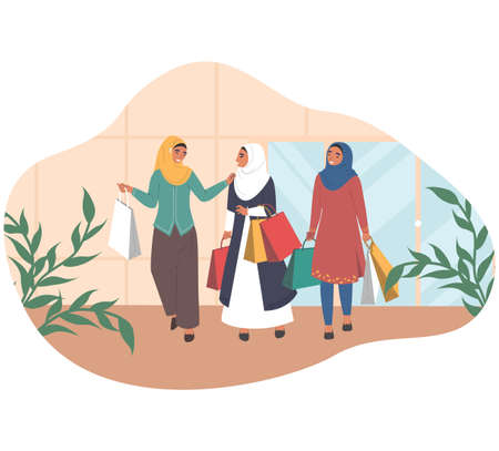 Happy arab women walking with shopping bags talking to each other, flat vector illustration