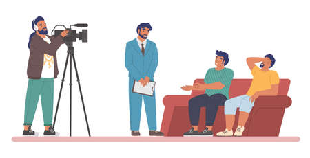 TV talk show. Host interviewing guests sitting on couch, cameraman shooting video, flat vector illustration